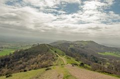 Hiking trails on the Malvern hills in the English countryside. Royalty Free Stock Image