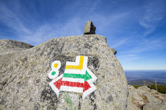 Hiking trails signs painted on rock. Royalty Free Stock Image