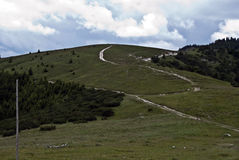 Hiking trails in Velka Fatra mountains with meadow and scrub Royalty Free Stock Images