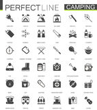 Hiking and travel camping black classic web icons set. Royalty Free Stock Photos