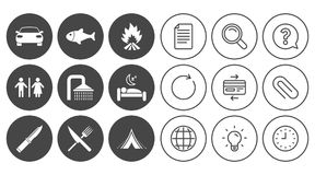 Hiking travel icons. Camping, shower and toilet. Stock Image