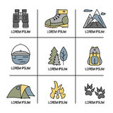 Hiking and travel icons with open paths. Vector set. Stock Image