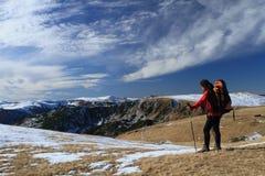 Hiking, trekking. In Romania mountain Stock Photos