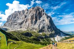 Hiking and trekking in the beautiful Mountains of Dolomites,  Italy royalty free stock photos