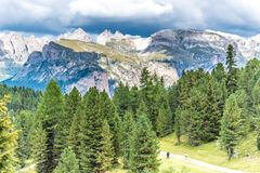 Hiking and trekking in the beautiful Mountains of Dolomites,  Italy royalty free stock photo