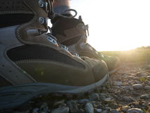 Hiking trekking boots outdoors Royalty Free Stock Photos