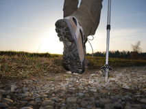 Hiking trekking boots outdoors royalty free stock image