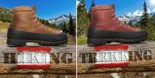 Hiking and Trekking boots Royalty Free Stock Images