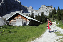 Hiking trekking child in the Alps Royalty Free Stock Photos