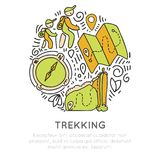 Hiking and trekking icon hand draw vector concept in round form. Travel climbing and camping, tracking outroor. Activities icon in circle with decorative Royalty Free Stock Photo