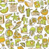 Hiking and trekking travel seamless pattern. Endless repeatable background with cartooning traveling elements about Stock Photography