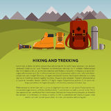 Hiking and trekking vector background Royalty Free Stock Photo
