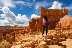 Hiking trip in Bryce Canyon National Park stock photography