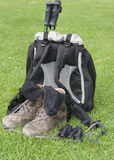Hiking trip equipment royalty free stock photos