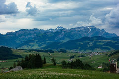 Hiking trip in Gais, a town in the swiss alps Stock Images
