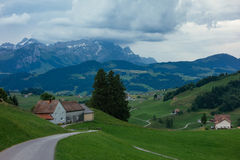 Hiking trip in Gais, a town in the swiss alps Stock Image