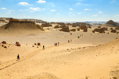 Hiking trip. A group of people in a hiking trip in the desert of Fayoum, Egypt Royalty Free Stock Image