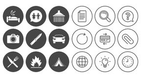 Hiking trip icons. Camping, shower and toilet. Stock Photography