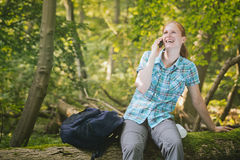 Hiking Trip Phone Call Stock Photos