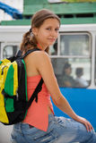 Hiking a trolley bus Stock Photography