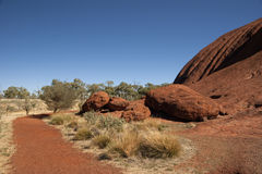 Hiking Uluru Stock Photo