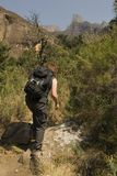 Hiking up Kwa Zulu Natal. Hiking up to the amphitheatre in the kwa zulu natal national park in southafrica Stock Photo