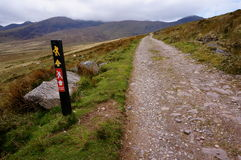 Hiking up the mountain in ireland. Towards brandon peak Stock Images