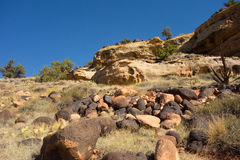 Hiking up a rocky trail in the desert Royalty Free Stock Photo