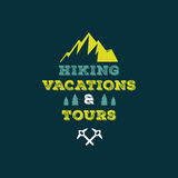 Hiking vacations & tours vector illustration Royalty Free Stock Photo