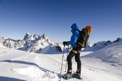 Hiking on Vallee Blanche Royalty Free Stock Photo