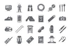 Hiking vector black and white icons Royalty Free Stock Images