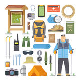 Hiking vector flat elements Royalty Free Stock Photography