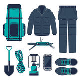 Hiking vector set. Royalty Free Stock Photography