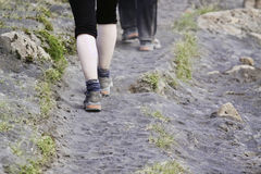Hiking in volcanic ash. People hiking in a thick layer of volcanic ash with a little bit of growth starting to bloom through the ash. The photo was taken close Stock Image