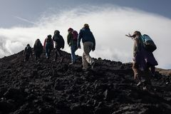 Hiking - volcano etna Royalty Free Stock Images
