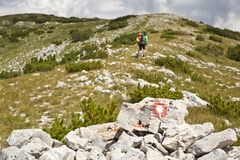 Hiking in Vran mountains - Bosnia and Herzegovina. Hiking in Vran mountains - the tourist sign - Bosnia and Herzegovina stock photo