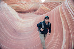 Hiking Walking The Wave Vermilion Cliffs National Monument Stock Photography