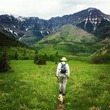 Hiking in waterton. Hiking trail alberta stock image