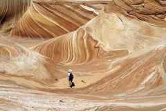 Hiking in the Wave. Hiker in the Wave, Arizona Stock Images