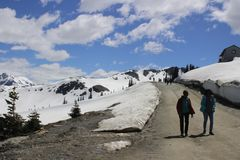 Hiking in Whistler, BC next to snow capped walls and mountains royalty free stock photography