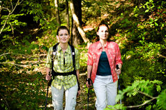 Hiking In The Wild Nature. Two young women Hiking In The Wild Nature Royalty Free Stock Images