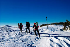 Hiking in winter Royalty Free Stock Photography
