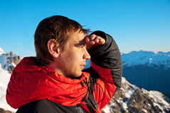 Hiking in the winter mountains Stock Photo