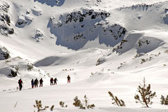 Hiking in wintertime Stock Photos