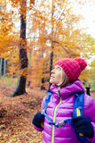 Hiking woman with backpack looking up at inspiring autumn trees Stock Images