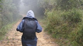 Hiking woman with backpack running in tropical wet forest. Young girl in raincoat jogging on wood trail during travel stock video footage