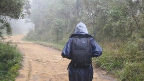 Hiking woman with backpack running in tropical wet forest. Young girl in raincoat jogging on wood trail during travel stock footage