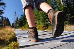 Hiking woman with boots. Hiking woman with trekking boots Stock Image
