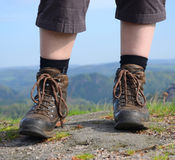 Hiking woman with boots Royalty Free Stock Images