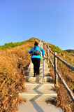 Hiking woman climbing mountain stairs Stock Images